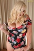Blonde babe with big fucking tits teases with her big tits in floral print