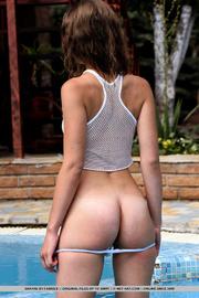 exquisite brunette white mesh