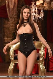 classy brunette black corset