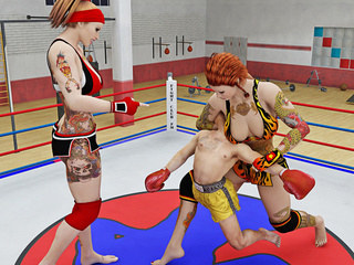 Two sexy wrestlers have fun play fighting with a - Picture 1