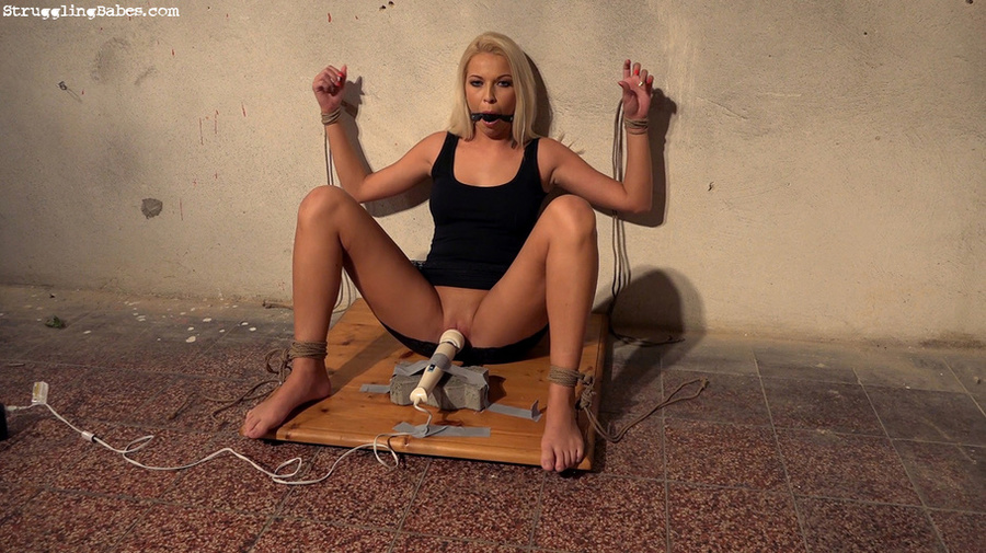 Sexy Tits Blonde Tied With Legs Apart Gagged With Vibrator Set To
