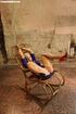 Blonde hottie in blue dress chair bound, gagged and screwed to orgasm