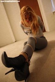 blonde beauty grey top