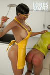 Swarthy 3d mistress in yellow latex apron spanking her slave and toying