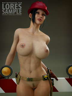 Boobed brunette 3d bimbo with pierced nipples posing - Picture 1