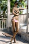 Ebony toon beauty posing in pink bikini and sunglasses and nude