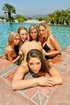 Five gfs in sexy bikini teasing in the pool and undressing before enjoying
