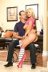 Pierced belly blonde asian in yellow miniskirt and striped socks gets