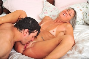 Small tits old woman tastes cum on her k - XXX Dessert - Picture 1