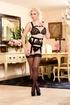 stunning blonde black lingerie
