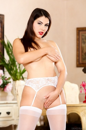 Red lipped brunette in white lingerie an - XXX Dessert - Picture 8