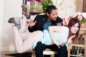 Blue eyed redhead gets facialized on the - XXX Dessert - Picture 1