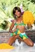 Pierced belly ebony cheerleader stripteasing and showing her small titties