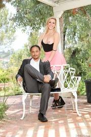 blonde pink miniskirt and