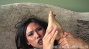 asian brunette furiously drilling