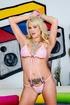 Pink underwear MILF shows off her slutty tats