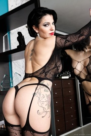pin-up brunette with pierced