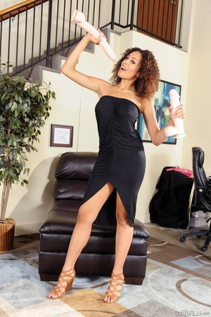 Curly hair ebony with big melons undress - XXX Dessert - Picture 1