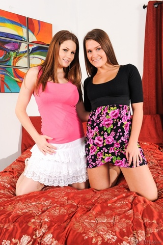 brunettes stripteasing exposing goods