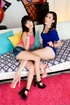 Lesbian sluts in colorful clothes just love to pose naked