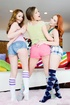 Teenage sluts in colorful clothes want to suck a dick