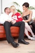 Pigtailed blonde and a short-haired MILF make love to one man at  the