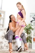 Young lady in striped knee-high socks gets a great lesbian encounter with