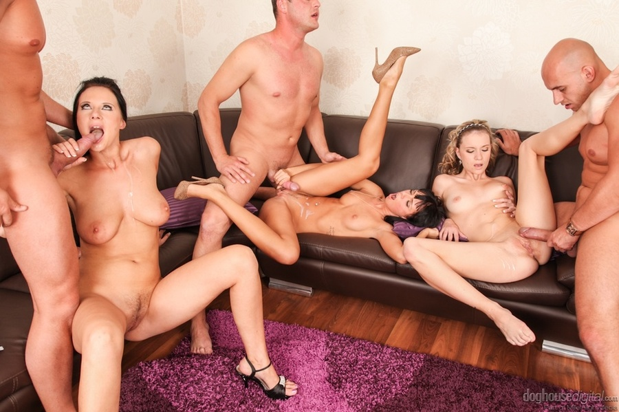 Three couples having sex party