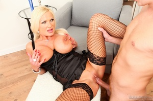 Tan MILF in black lingerie has huge tits - XXX Dessert - Picture 14