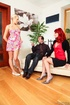 Lucky lad gets to play with a hot blonde and a gal with striking red hair.