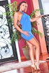 Stunner showcases her curves while wearing a short, flattering blue dress.