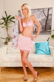 long-haired dame pink panties