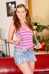 pigtailed teen jean skirt