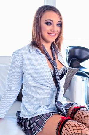 Brunette in sexy uniform with hot stocki - XXX Dessert - Picture 1