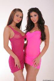 beautiful brunette lesbians wearing