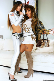 nice two brunettes wearing