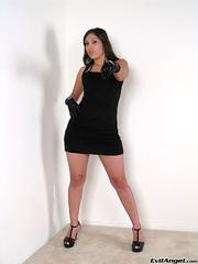 splendid brunette wearing black
