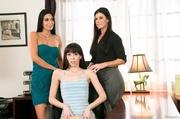 three slender brunettes are