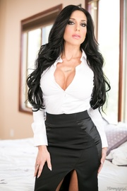 brunette businesswoman black skirt