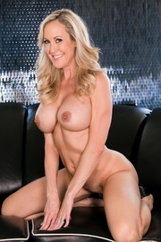 smiling blonde red lingerie