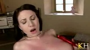 sweet long-haired milf takes