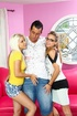 Young and horny girls alone at home decide to invite a senior from college