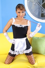 horny maid black fishnets