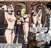 During a BDSM orgy, one gal's pierced tits turn pink when they are bound