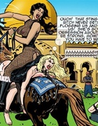 Mistress in black fishnet puts a blonde under a horse's saddle and goes