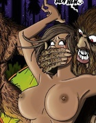Frightening creatures command two beautiful, naked submissive women. The