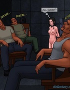 Naked brunette slave is in shackles while the men around her snore. Bad