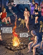 Young, naked girls are paraded around a campfire for the enjoyment of