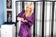 exquisite blonde purple silk