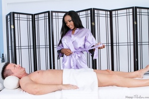 Pretty brunette wearing shiny lilac robe - XXX Dessert - Picture 5